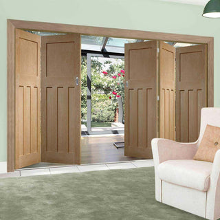 Image: Five Folding Doors & Frame Kit - DX Oak 1930's Panel 3+2 - Unfinished