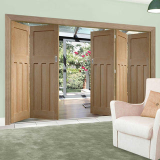 Image: Bespoke Thrufold DX Oak Panel Folding 3+2 Door 1930's Style