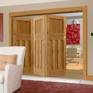 Image: Three Folding Doors & Frame Kit - Rustic Oak 1930 DX Shaker 3+0 - Prefinished