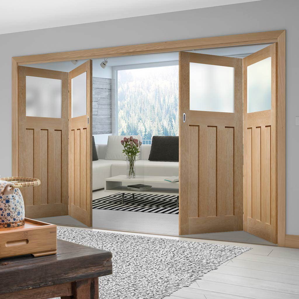 Four Folding Doors & Frame Kit - 1930's Oak Solid 2+2 - Frosted Glass - Unfinished