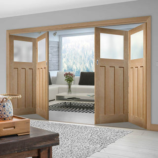 Image: Four Folding Doors & Frame Kit - 1930's Oak Solid 2+2 - Frosted Glass - Unfinished