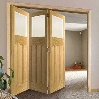 Image: Three Folding Doors & Frame Kit - 1930's Oak Solid 3+0 - Frosted Glass - Unfinished