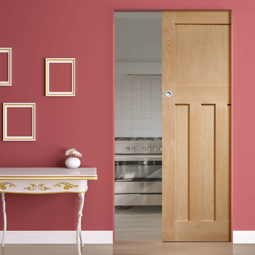 DX 1930'S Oak Panel Absolute Evokit Pocket Door - Prefinished