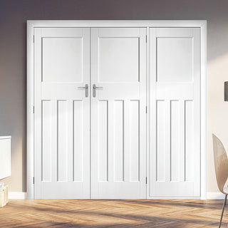 Image: ThruEasi Room Divider - DX30's Double Doors White Primed Double Doors with Single Side - 2018mm High - Multiple Widths