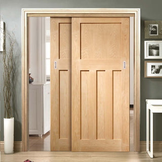 Image: Thruslide DX 1930'S Oak Panel - 2 Sliding Doors and Frame Kit - Prefinished