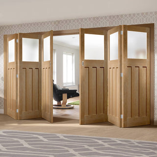 Image: Bespoke Thrufold DX 1930's Oak Glazed Folding 3+3 Door - Prefinished