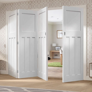 Image: Bespoke Thrufold DX 1930's White Primed Panel Folding 3+1 Door