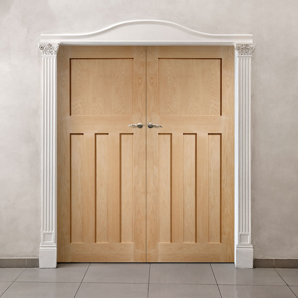 Fire Rated DX Panel Oak Door Pair - 1/2 Hour Fire Rated