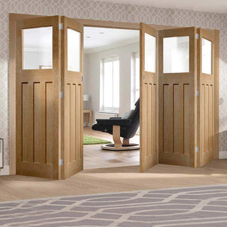 Image: Bespoke Thrufold DX 1930's Oak Glazed Folding 3+2 Door - Prefinished