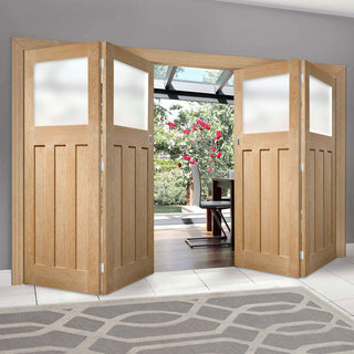 Image: Bespoke Thrufold DX 1930's Oak Glazed Folding 2+2 Door - Prefinished