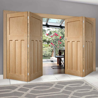 Image: Bespoke Thrufold DX Oak Panel Folding 2+2 Door 1930's Style