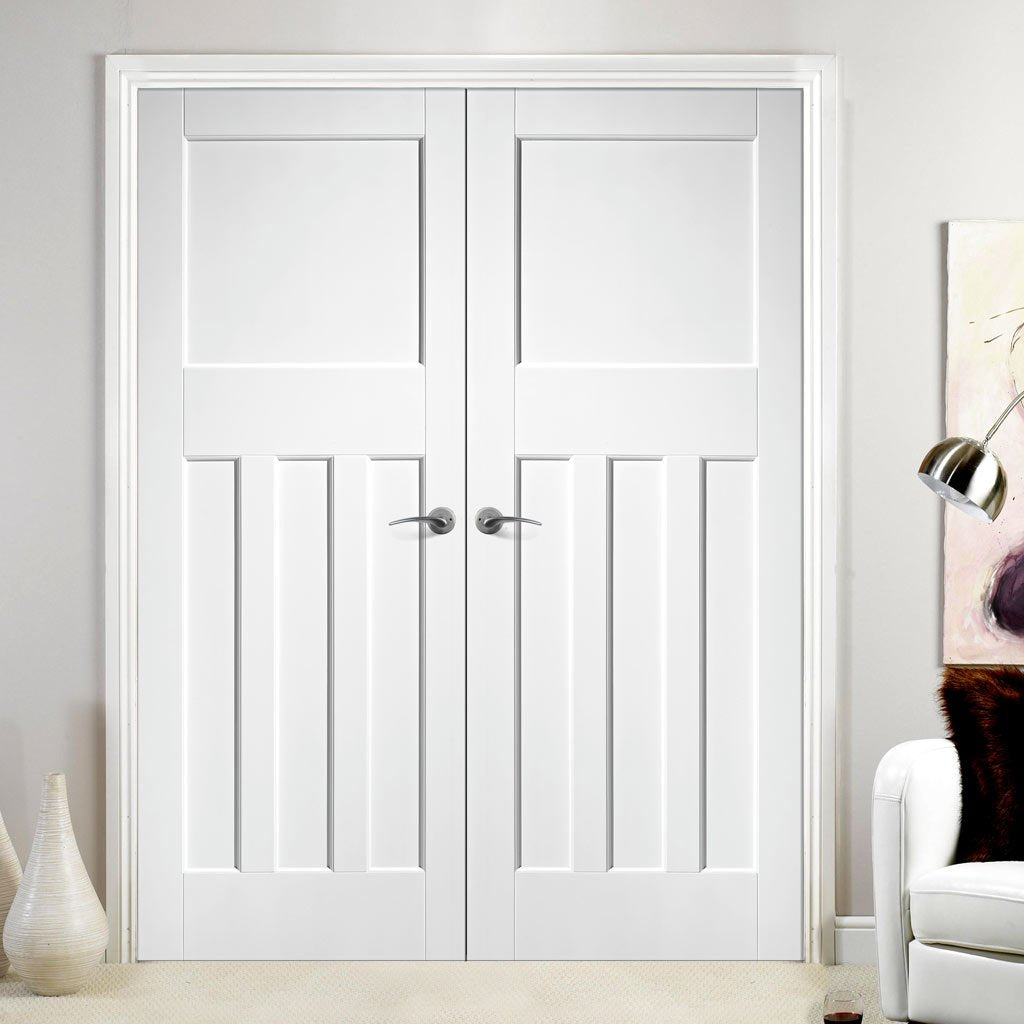 LPD Joinery DX30's Panel Fire Door Pair - 30 Minute Fire Rated - White Primed