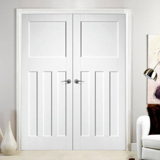 Image: DX30's Style White Primed Panel Fire Door Pair, 30 Minute Fire Rated