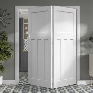 Image: Thrufold DX 1930's Panel 2+0 Folding Door - White Primed