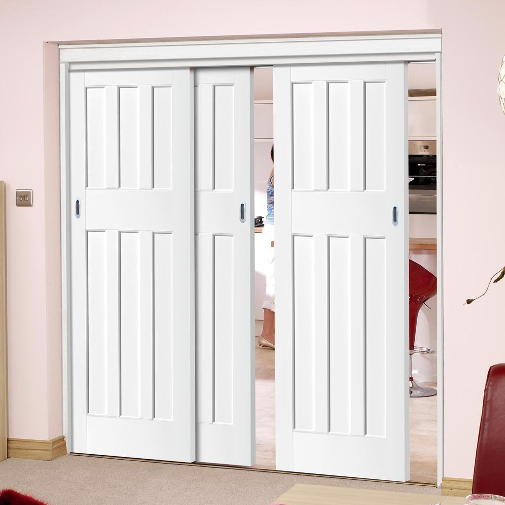 Three Sliding Doors and Frame Kit - DX60's Panel Door - White Primed