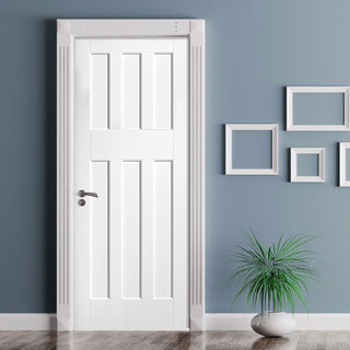 Image: DX60's Style White Primed Panel Fire Door, 30 Minute Fire Rated
