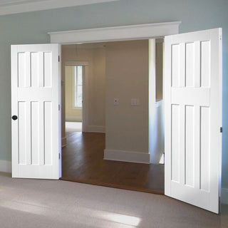 Image: LPD Joinery DX60's Panel Fire Door Pair - 30 Minute Fire Rated - White Primed