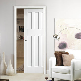 Image: DX60's Style Panel Single Evokit Pocket Door - White Primed