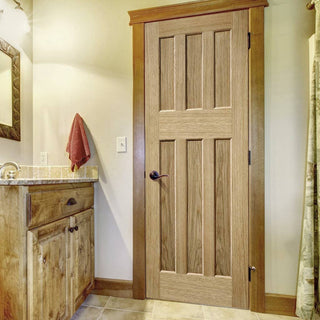 Image: Fire Door, DX 60's Nostalgia Oak Panel - 30 Minute Fire Rated