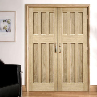 Image: LPD Joinery DX 60's Nostalgia Oak Panel Fire Door Pair - 1/2 Hour Fire Rated