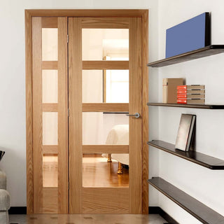 Image: Easi-Frame Oak Door Set - GOSHA4L-COEOP31L - 2005mm Height - 1127mm Wide.