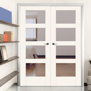 Image: Shaker 4 Pane White Primed Fire Door Pair - Clear Glass - 30 Minute Fire Rated