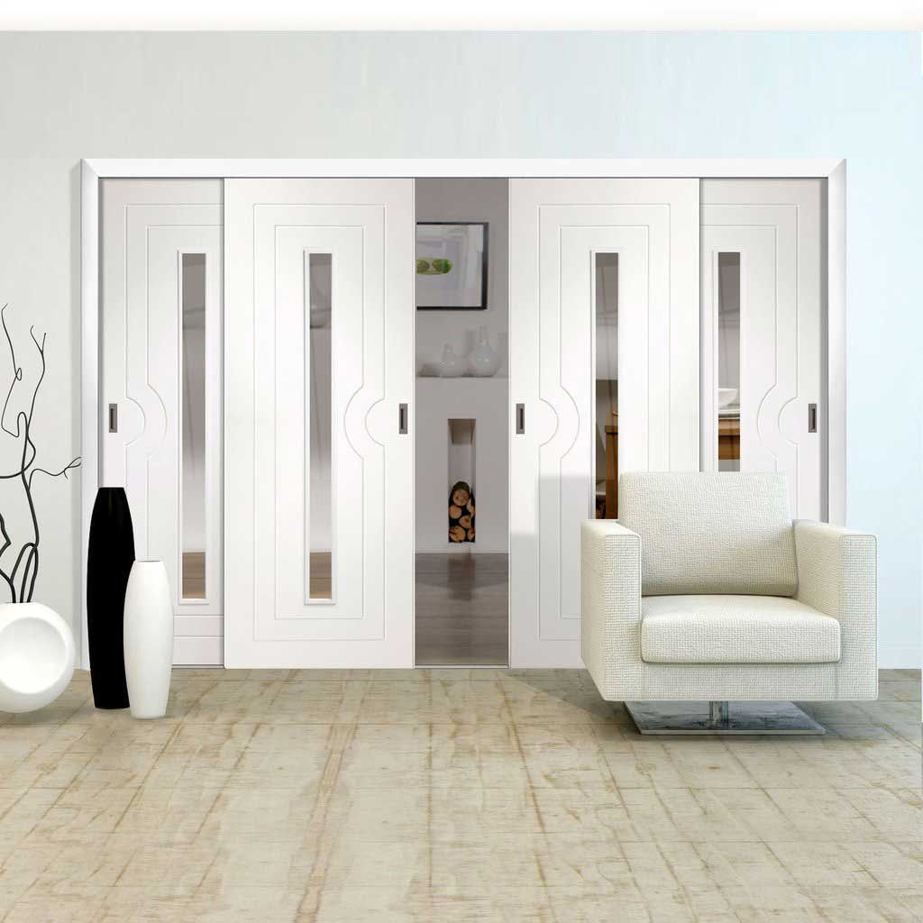 Four Sliding Doors and Frame Kit - Potenza White Flush Door - Clear Glass - Prefinished