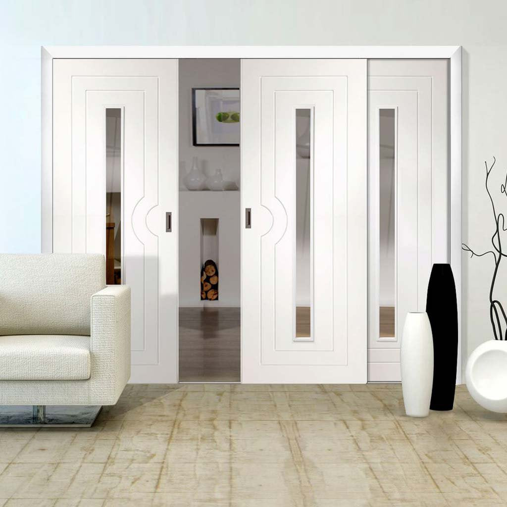 Three Sliding Doors and Frame Kit - Potenza White Flush Door - Clear Glass - Prefinished