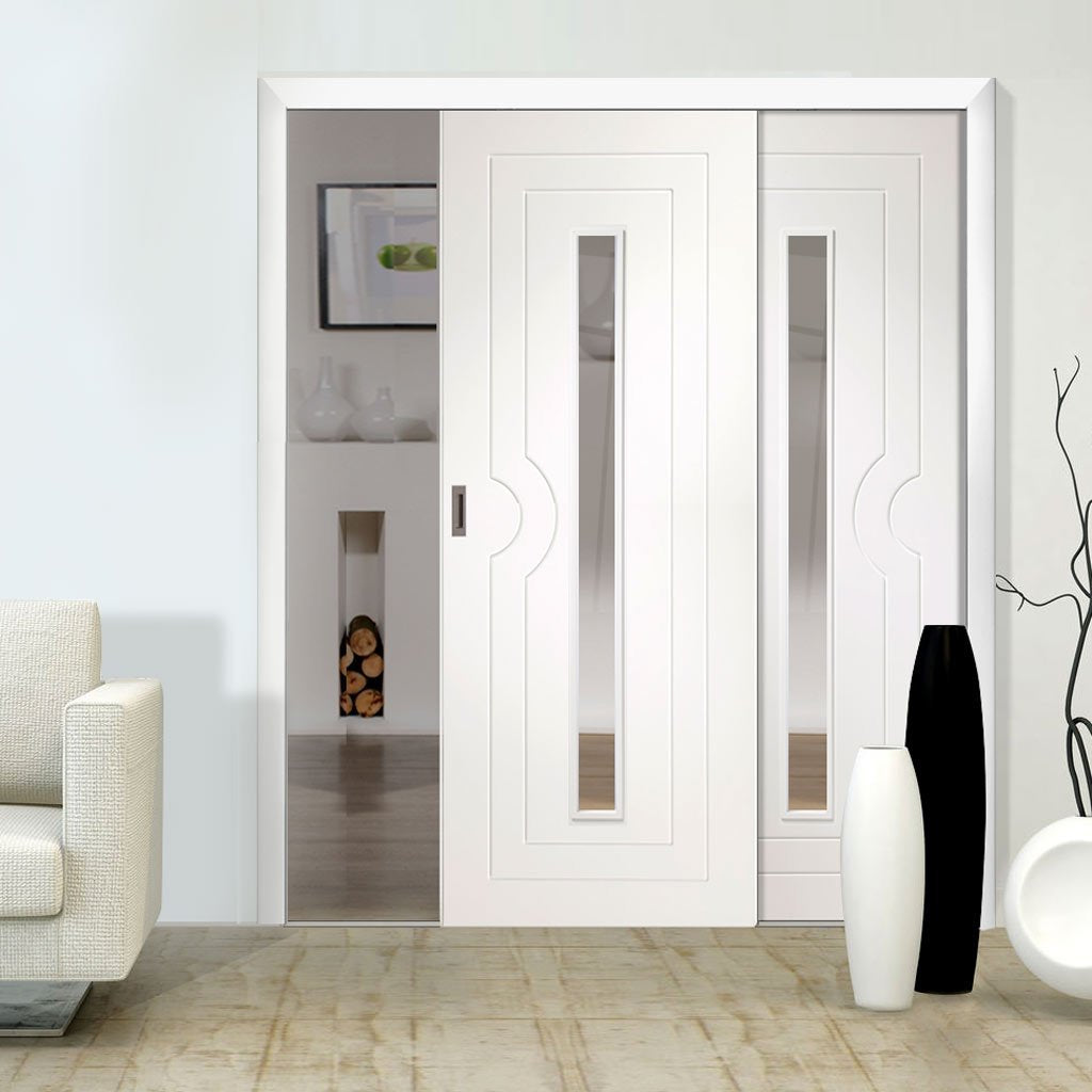 Two Sliding Doors and Frame Kit - Potenza White Flush Door - Clear Glass - Prefinished