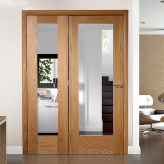 Image: Easi-Frame Oak Door Set - GOSHAP10-COEOP32L - 2005mm Height - 1432mm Wide.