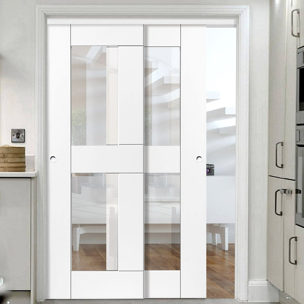 Two Sliding Doors and Frame Kit - Eccentro White Primed Door - Clear Glass