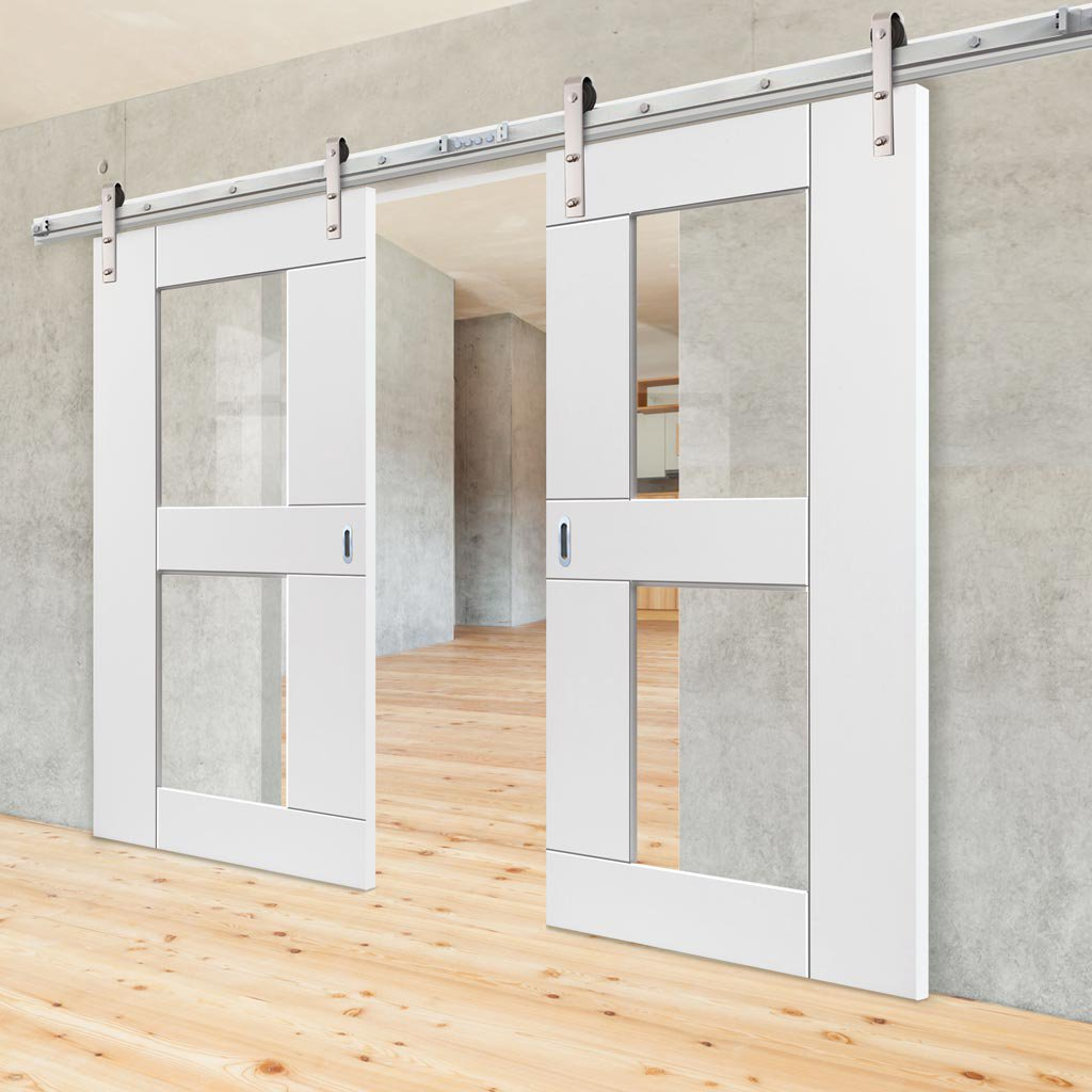 Double Sliding Door & Track - Eccentro White Doors - Clear Glass - Prefinished