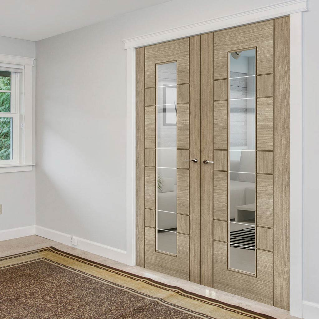 Edmonton Light Grey Door Pair - Clear Glass with Frosted Lines - Prefinished
