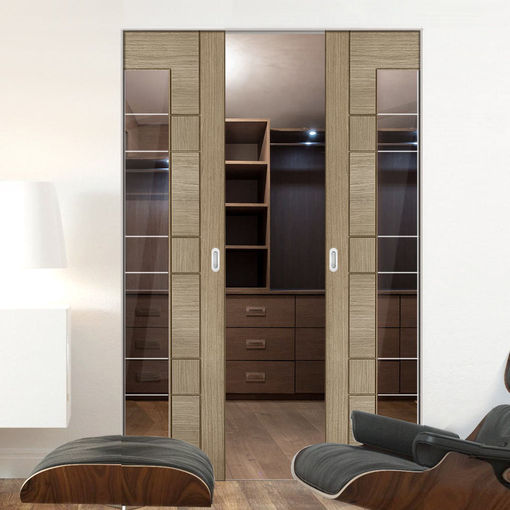 Edmonton Light Grey Absolute Evokit Double Pocket Door - Clear Glass with Frosted Lines - Prefinished