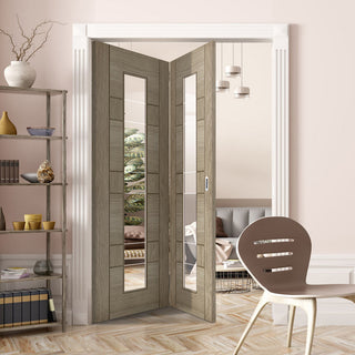 Image: Two Folding Doors & Frame Kit - Edmonton Light Grey 2+0 - Clear Glass with Frosted Lines - Prefinished