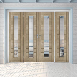 Image: ThruEasi Room Divider - Edmonton Light Grey - Clear Glass with Frosted Lines Prefinished Double Doors with Double Sides - 2018mm High - Multiple Widths