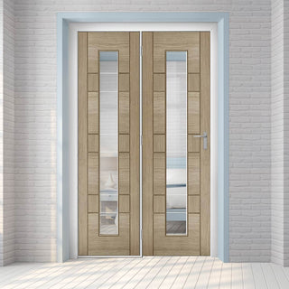 Image: ThruEasi Room Divider - Edmonton Light Grey - Clear Glass with Frosted Lines Prefinished Door with Single Side - 2018mm High - Multiple Widths