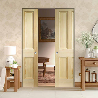 Image: Edwardian 4 Panel VG Pine Absolute Evokit Double Pocket Door
