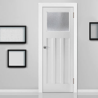 Image: White PVC edwardian door with lightly grained faces clear toughened safety glass