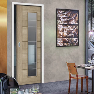 Image: Edmonton Light Grey Single Evokit Pocket Door - Clear Glass with Frosted Lines - Prefinished