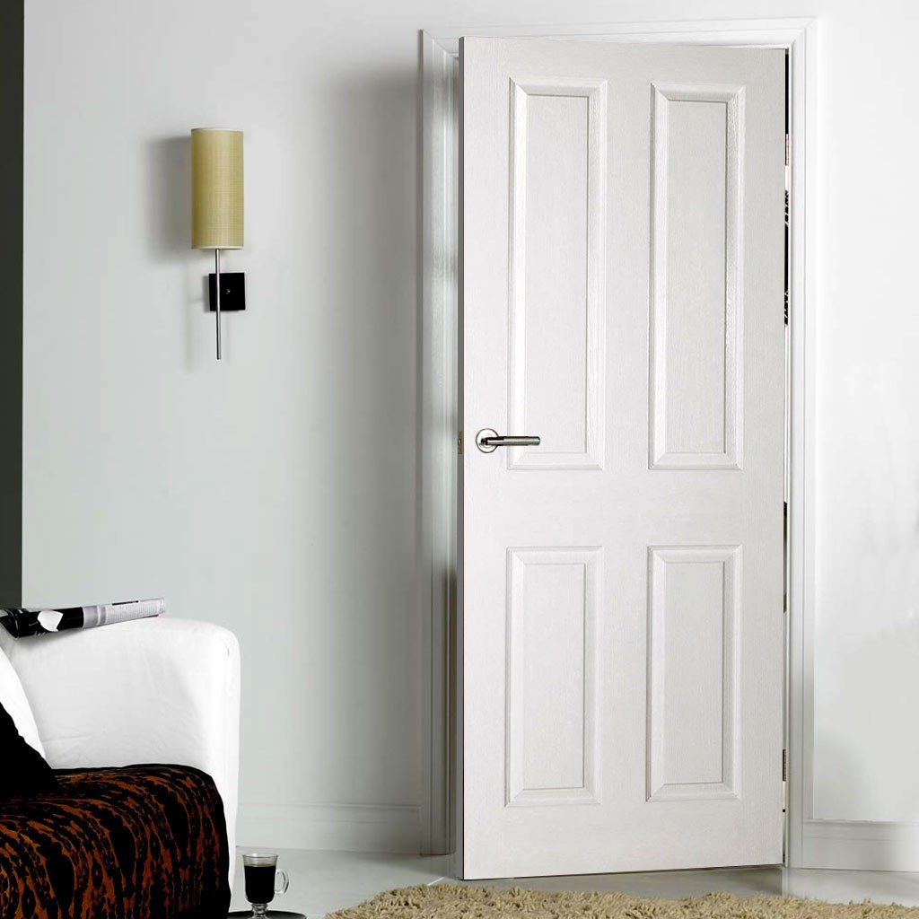 White interior panel door