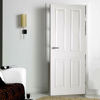 Image: White Primed 4 Panel Door with Smooth Surfaces
