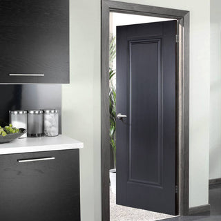 Image: Eindhoven 1 Panel Black Primed Fire Door - 1/2 Hour Fire Rated