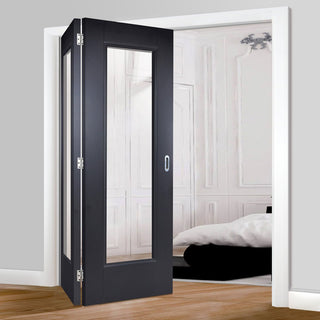 Image: Two Folding Doors & Frame Kit - Eindhoven Black Primed 2+0 - Clear Glass - Unfinished