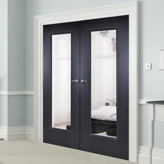 Image: Eindhoven Black Primed Door Pair - Clear Glass