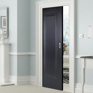 Image: Eindhoven 1 Panel Black Primed Single Evokit Pocket Door