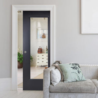 Image: Eindhoven Black Primed Single Evokit Pocket Door - Clear Glass