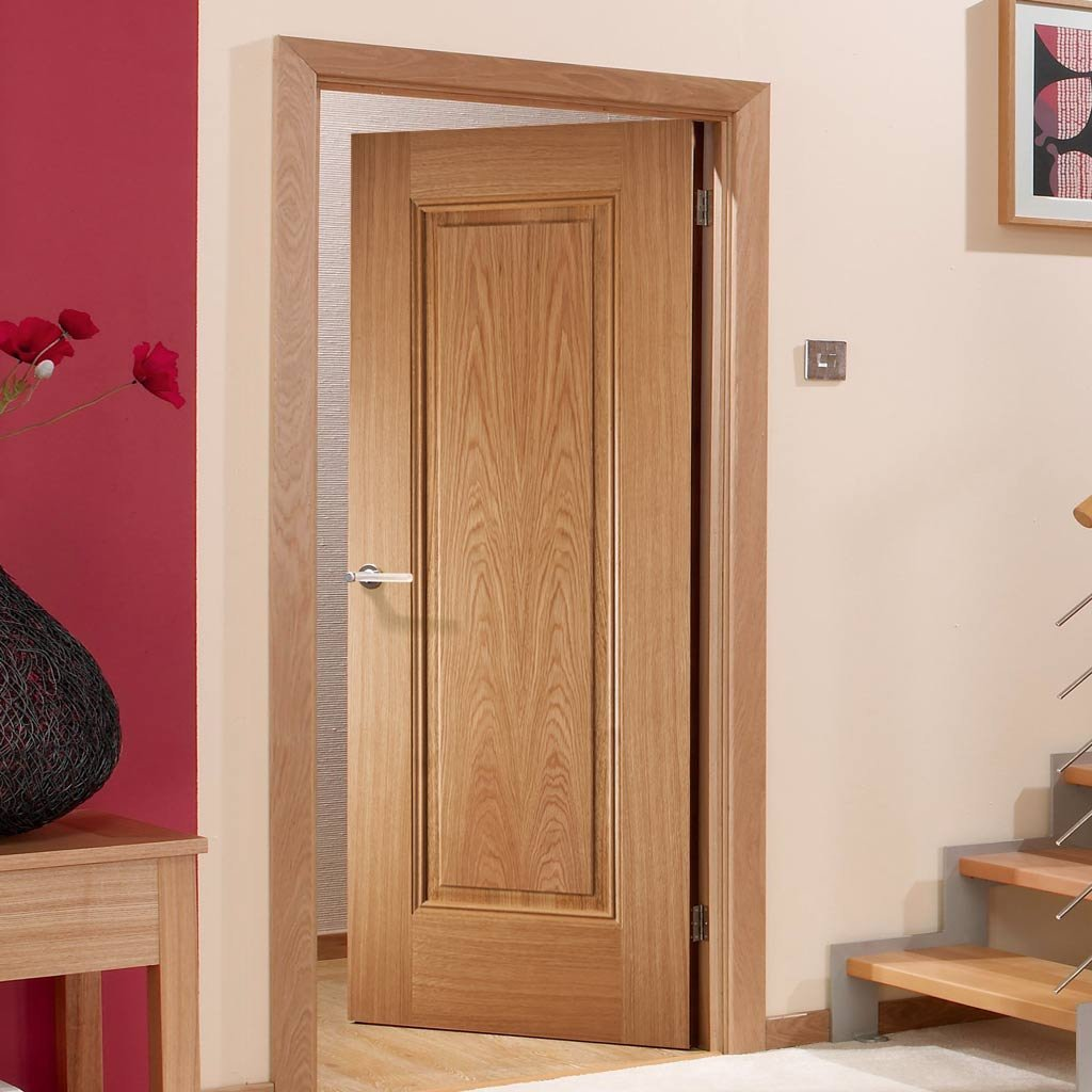 Fire Door, Eindhoven 1 Panel Oak - 1/2 Hour Fire Rated - Prefinished