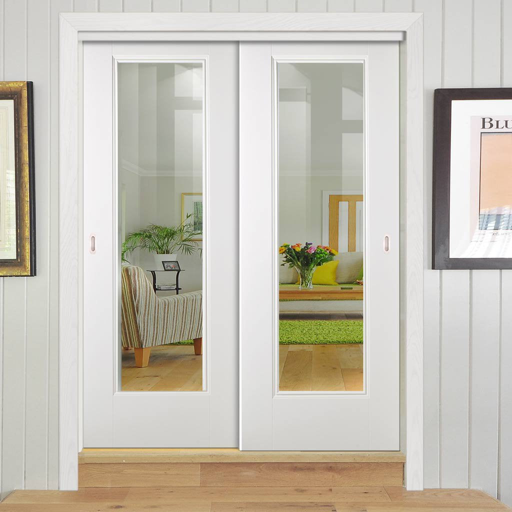 Two Sliding Doors and Frame Kit - Eindhoven  1 Pane Door - Clear Glass - White Primed