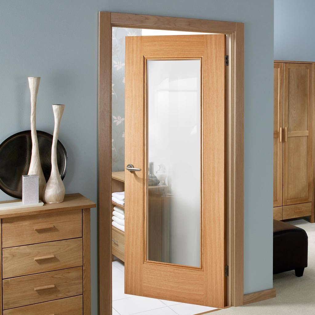 eindhoven 1l oak door clear safety glass prefinish